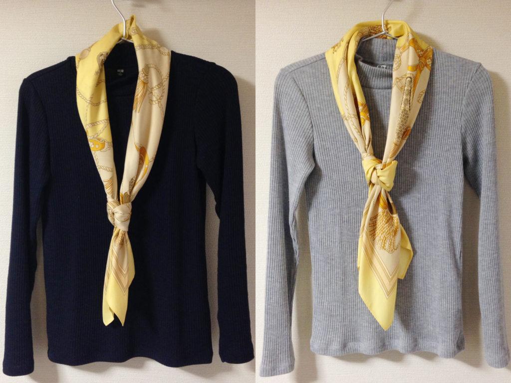 リブハイネックTプラスネクタイ巻きスカーフ
