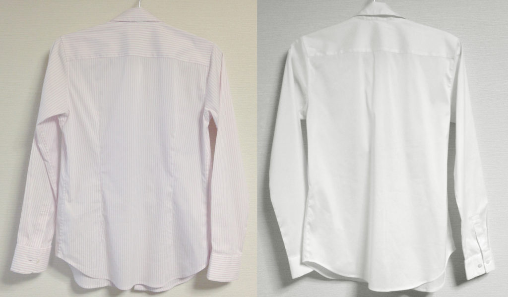 スーピマコットンストレッチシャツ背面の比較