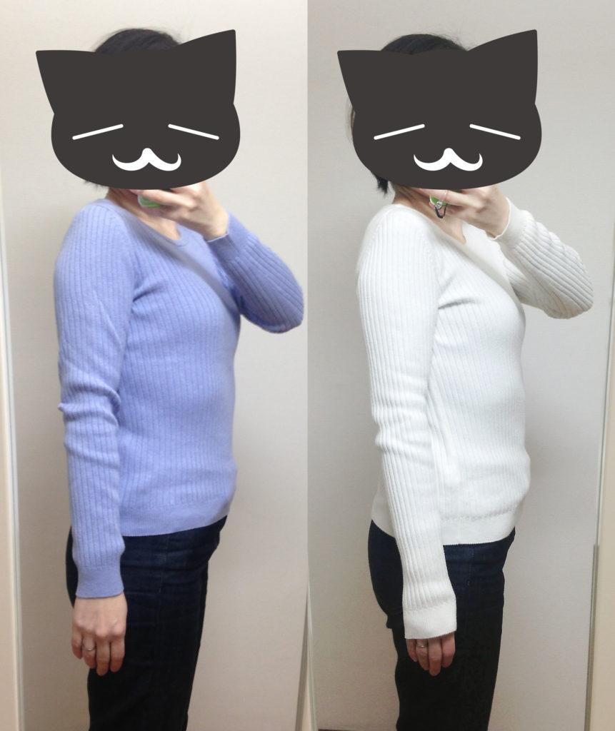 コットンカシミヤリブセーター袖の長さ