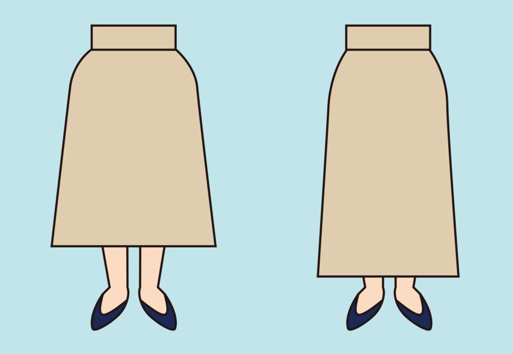スカートを試着した時の比較2