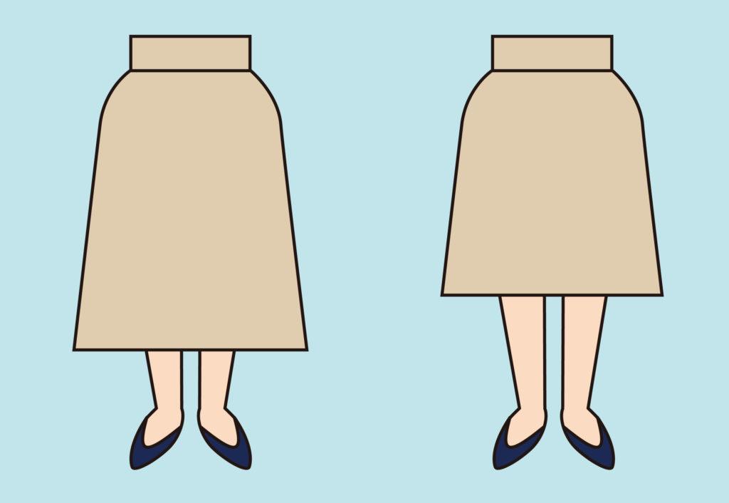 サス付きスカートがひざ丈だった場合のイメージ