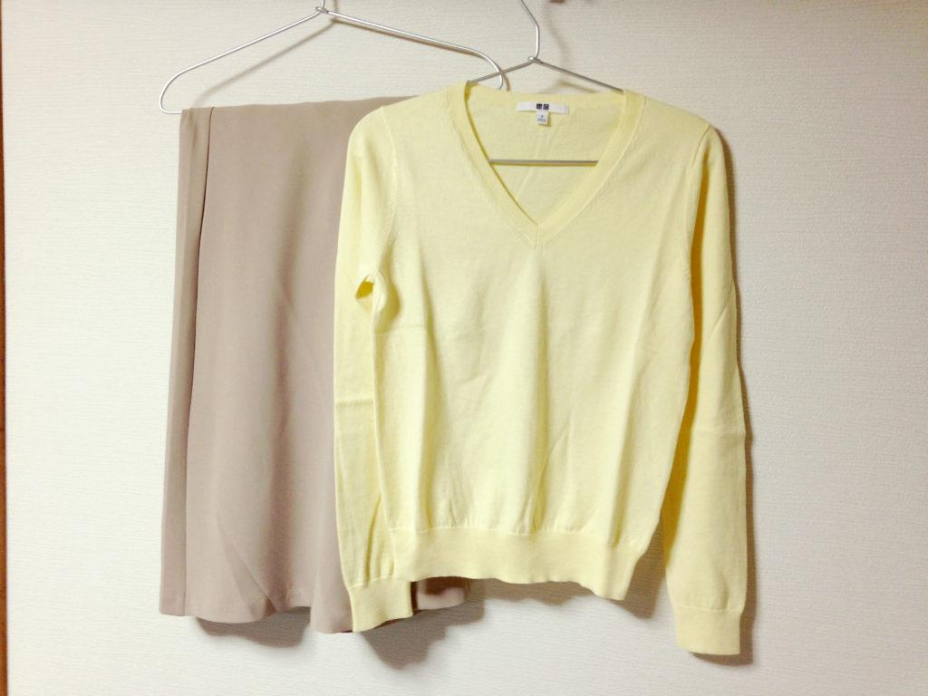 コットンカシミヤVネックセーターとGUのマキシスカート