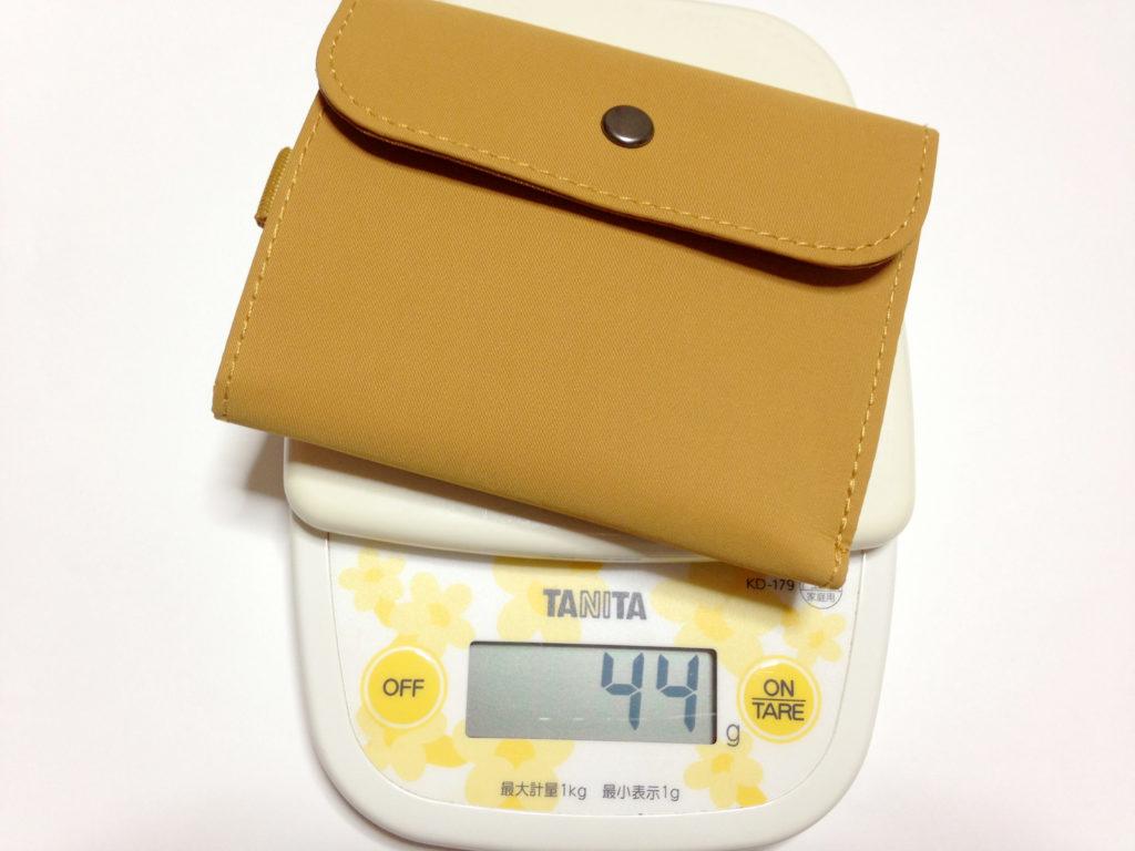 ポリエステルトラベル用ウォレットの重さは44g