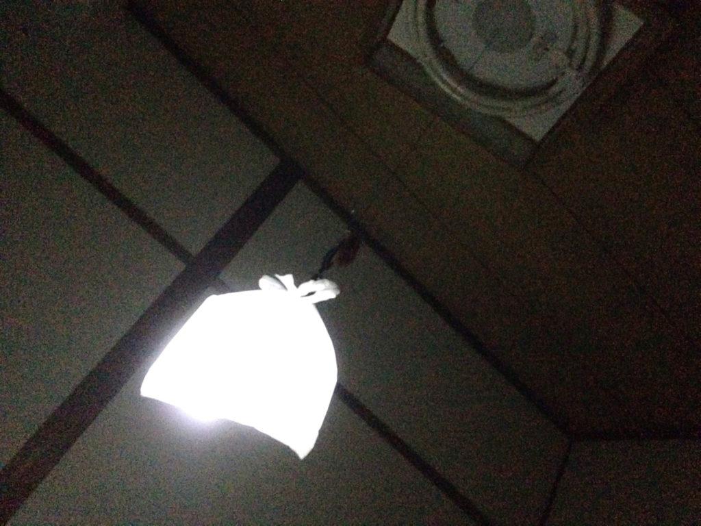 電気の紐に懐中電灯をぶら下げて白いビニール袋を丸くかぶせてみた状態